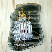 Сувениры и подарки handmade. Livemaster - original item Magnet stone Moscow painting on stone, the Cathedral of Christ the Savior. Handmade.