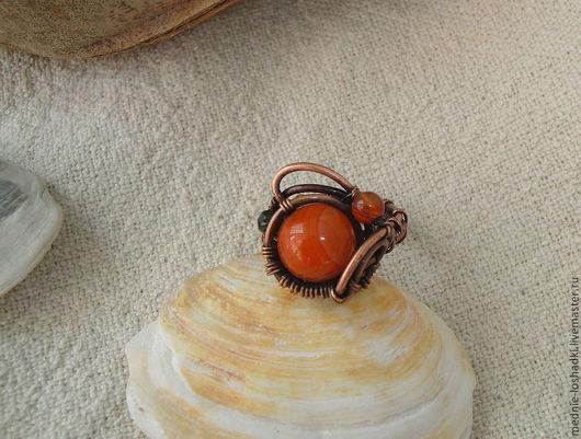 """Кольца ручной работы. Ярмарка Мастеров - ручная работа. Купить кольцо """" Оранжевое лето"""". Handmade. Рыжий, медь"""