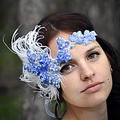 Свадебный салон ручной работы. Ярмарка Мастеров - ручная работа Вышитое украшение для невесты повязка с перьями ЧЕРНИКА. Handmade.