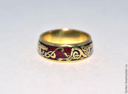 """Кольца ручной работы. Ярмарка Мастеров - ручная работа. Купить Кольцо """"Виллентретенмерт"""". Handmade. Дракон, кольцо с эмалью, кельтский орнамент"""