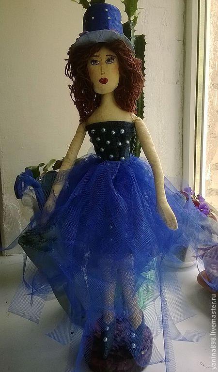 Коллекционные куклы ручной работы. Ярмарка Мастеров - ручная работа. Купить текстильная кукла Марго. Handmade. Тёмно-синий, зонт