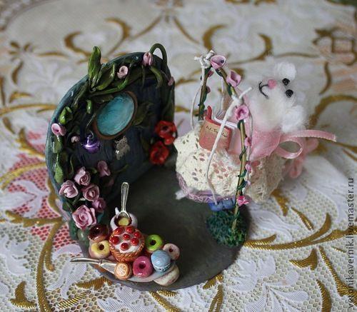 """Миниатюра ручной работы. Ярмарка Мастеров - ручная работа. Купить """"Мечтательница"""". Handmade. Полимерная глина, мышка, игрушка в подарок"""