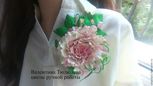 """Броши ручной работы. Ярмарка Мастеров - ручная работа. Купить """"Розовый сон"""" пышная большая роза с бутонами и мелкими цветами ручной. Handmade."""