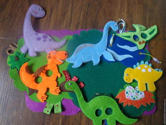 Кукольный театр ручной работы. Ярмарка Мастеров - ручная работа. Купить Пальчиковые динозавры. Handmade. Развивающая игрушка, пальчиковый театр