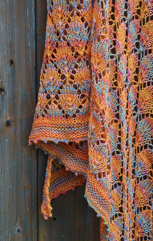 шаль летняя шаль вязаная шаль шаль из хлопка легкая шаль летняя косынка летний платок шали яркая шаль разноцветная шаль оранжевый желтый голубой розовый листья