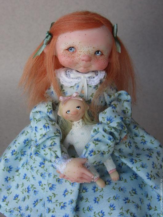 """Коллекционные куклы ручной работы. Ярмарка Мастеров - ручная работа. Купить """"Абби"""". Handmade. Голубой, малышка, кукла с игрушкой, кружево"""