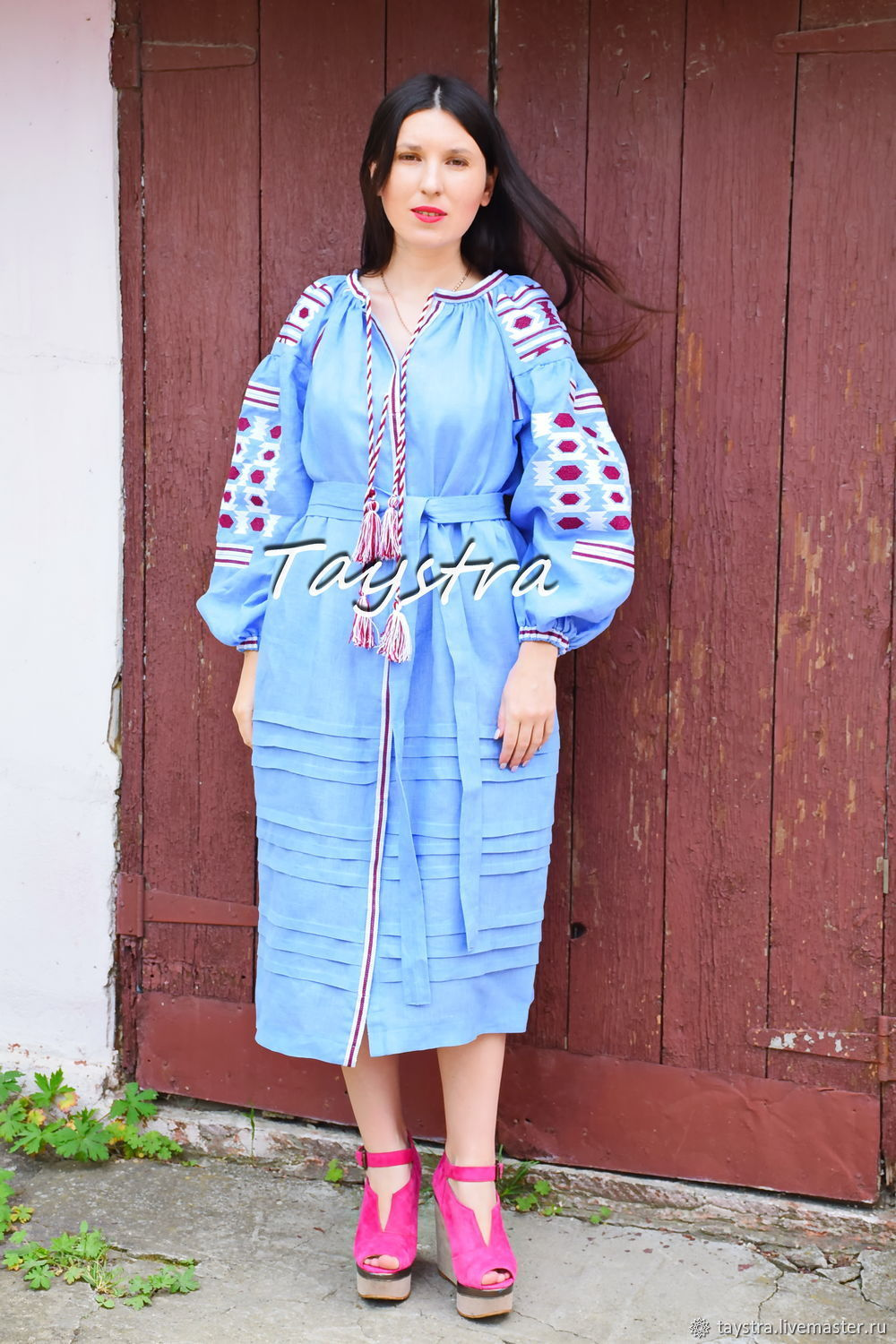 Blue Embroidered Dress boho style, Bohemian, Vyshyvanka Dress, Dresses, Chernovtsy,  Фото №1