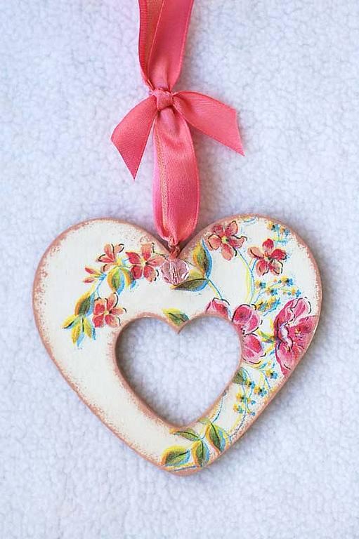 Подвески ручной работы. Ярмарка Мастеров - ручная работа. Купить Сердечко-валентинка Розовые цветы. Handmade. Кремовый, свадебные аксессуары