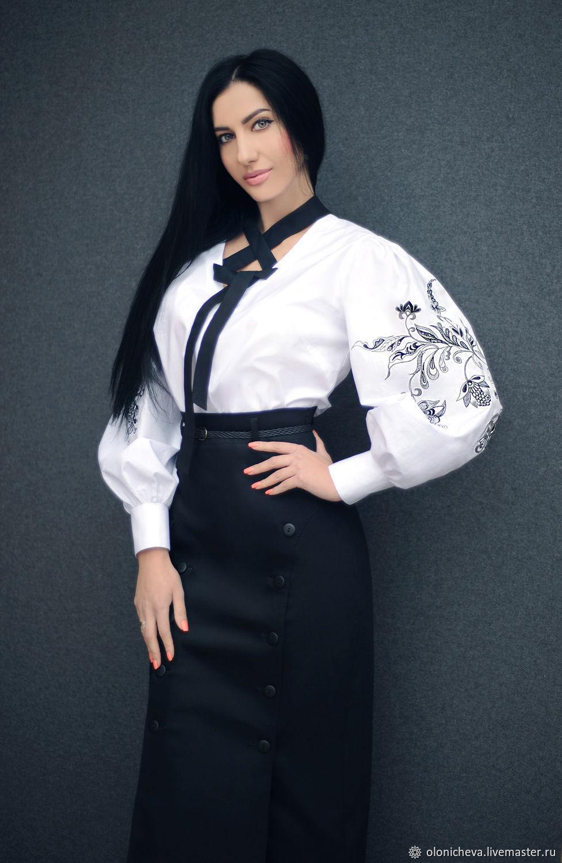 """Женская вышиванка, вышитая блуза """"Элегантная"""" белая блуза с вышивкой, Blouses, Vinnitsa, Фото №1"""