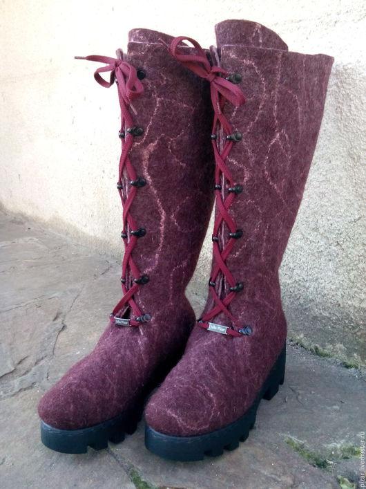 """Обувь ручной работы. Ярмарка Мастеров - ручная работа. Купить Валенки-сапожки """"Бордо"""". Handmade. Коричневый, валенки для улицы"""