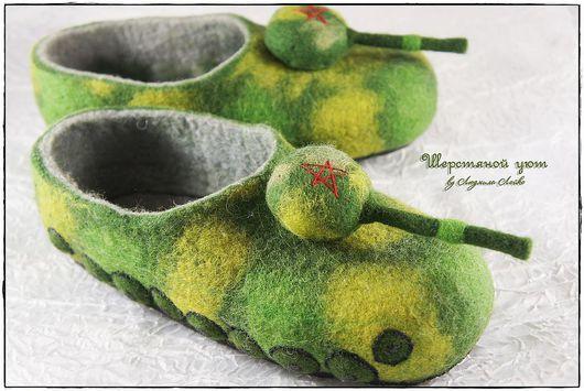 """Обувь ручной работы. Ярмарка Мастеров - ручная работа. Купить Тапки """"Мужские игры"""". Handmade. Хаки, мужская обувь"""
