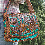 handmade. Livemaster - original item Women`s leather bag-turquoise. Handmade.