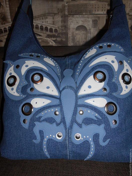 """Женские сумки ручной работы. Ярмарка Мастеров - ручная работа. Купить Джинсовая сумка """" Бабочка"""". Handmade. Синий, хольнитены"""