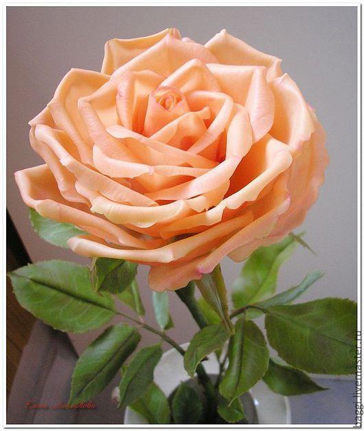 Цветы ручной работы. Ярмарка Мастеров - ручная работа. Купить Керамическая флористика. Персиковая роза.. Handmade. Бежевый, тайская глина