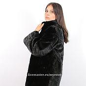 Одежда ручной работы. Ярмарка Мастеров - ручная работа Норковая шуба 100 см цвет черный. Handmade.
