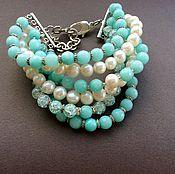 Украшения handmade. Livemaster - original item Bracelet of pearl, quartz and agate SEA CURRENT. Handmade.