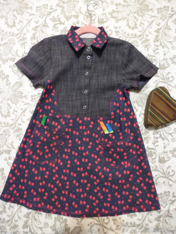 Одежда для девочек, ручной работы. Ярмарка Мастеров - ручная работа. Купить Летнее джинсовое льняное платье с карманами 'Настя'. Handmade.