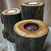 Подсвечники ручной работы. Ярмарка Мастеров - ручная работа Подсвечники: Спил мореного дерева. Handmade.