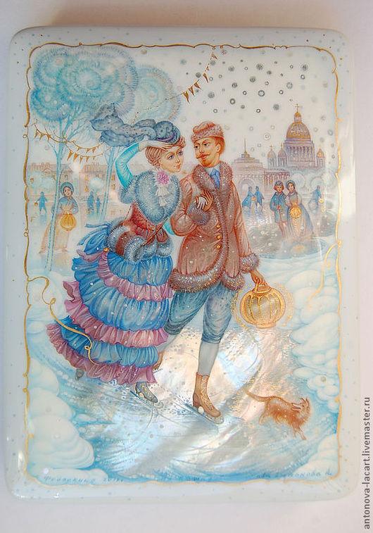 """Шкатулка """" На катке"""", авторская композиция.  Парочка влюбленных   в зимнем Петербурге 19 века."""