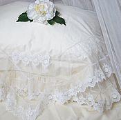 Для дома и интерьера ручной работы. Ярмарка Мастеров - ручная работа Накидка на подушку молочного цвета. Handmade.