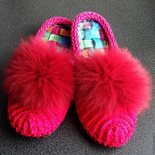 Обувь ручной работы. Ярмарка Мастеров - ручная работа. Купить Тапочки-шлепки вязаные, ярко-розовые. Handmade. Тапочки, шлепки