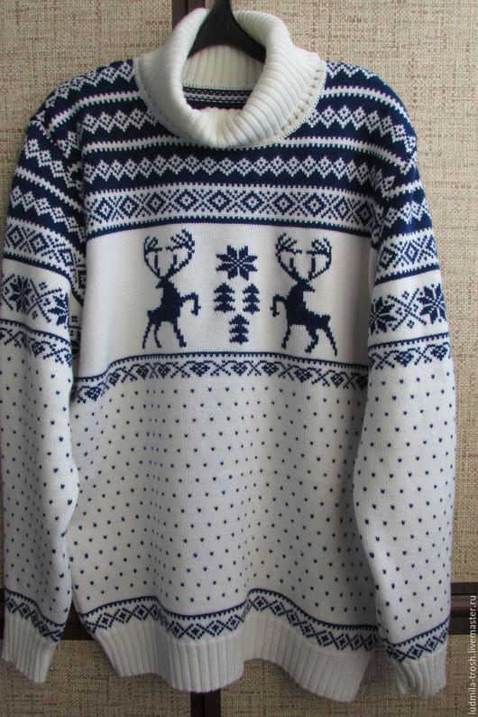 Кофты и свитера ручной работы. Ярмарка Мастеров - ручная работа. Купить мужской свитер с оленями. Handmade. Белый, олени