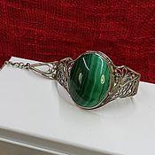 Украшения handmade. Livemaster - original item Bracelet silver Filigree Bracelet with natural malachite. Handmade.