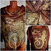 Аксессуары ручной работы. Ярмарка Мастеров - ручная работа Горячий батик , платок в стиле СТИМПАНК,90-90см,шёлк-шерсть натуралный. Handmade.
