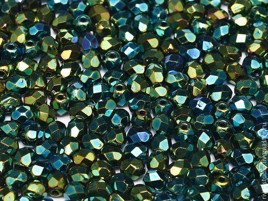 Для украшений ручной работы. Ярмарка Мастеров - ручная работа. Купить Чешские граненые бусины 4 мм Green iris Fire polished beads. Handmade.