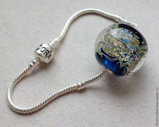 """Для украшений ручной работы. Ярмарка Мастеров - ручная работа. Купить """"Холодный ручей"""" кулон-шар в стиле Пандора. Handmade."""