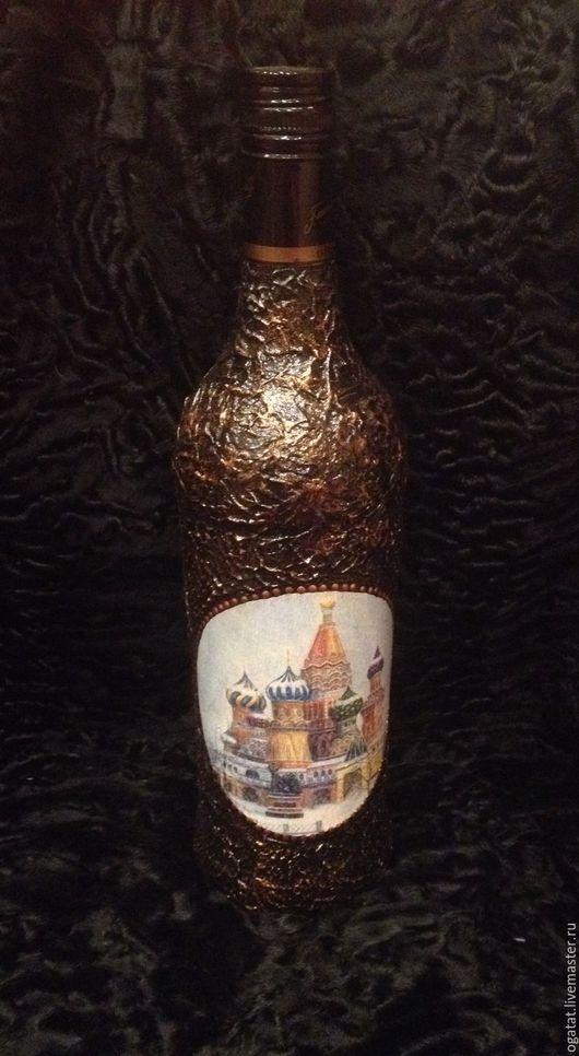 """Персональные подарки ручной работы. Ярмарка Мастеров - ручная работа. Купить Декор бутылки рома """" Моя Москва"""". Handmade."""