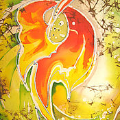 Картины и панно ручной работы. Ярмарка Мастеров - ручная работа Батик-картина - Осенний дуэт. Он.. Handmade.