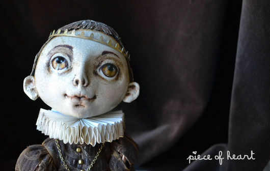 Коллекционные куклы ручной работы. Ярмарка Мастеров - ручная работа. Купить мой король. Handmade. Коричневый, бархат