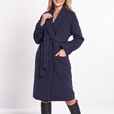 Одежда ручной работы. Ярмарка Мастеров - ручная работа Пальто на осень темно-синее. Handmade.