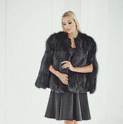 handmade. Livemaster - original item Fox fur wedding cape in black. Handmade.