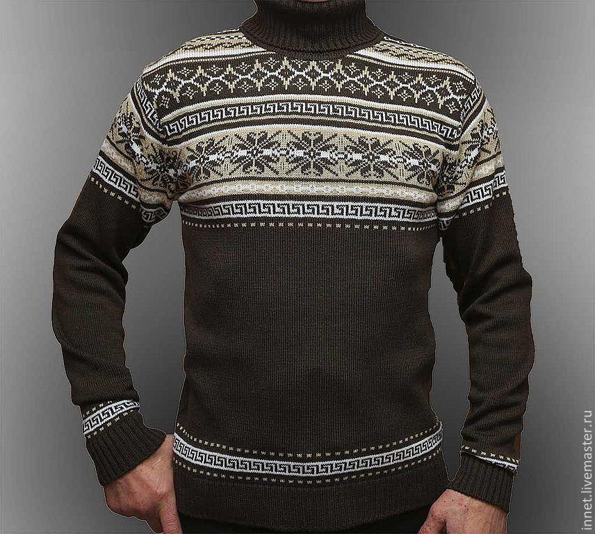 Мужской вязаный свитер с орнаментом – купить в интернет ...