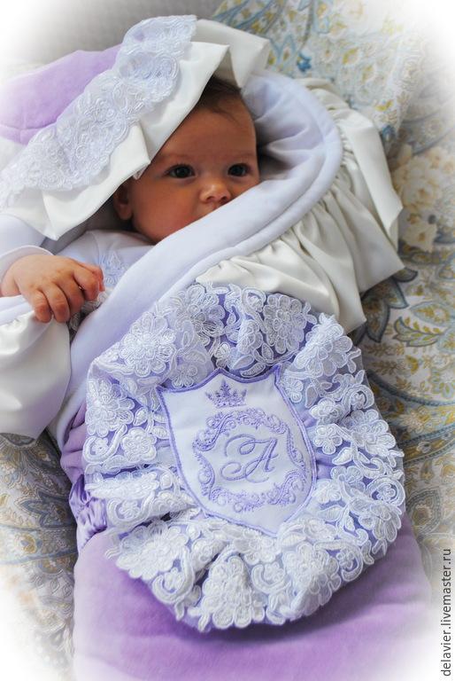 """Для новорожденных, ручной работы. Ярмарка Мастеров - ручная работа. Купить Зимнее/демисезонное/летнее одеяло на выписку """"Амелия"""". Handmade. Сиреневый, для новорожденных"""