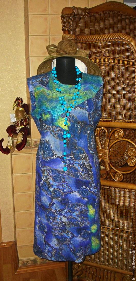 Платья ручной работы. Ярмарка Мастеров - ручная работа. Купить Платье валяное на шелке ETRO. Handmade. Тёмно-синий