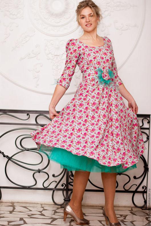 """Платья ручной работы. Ярмарка Мастеров - ручная работа. Купить Платье """"Лето в стиле 50-х"""". Handmade. Бирюзовый"""