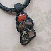 """Украшения handmade. Livemaster - original item Чокер с камнями в коже """"Черепаха"""". Handmade."""