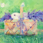 Картины и панно handmade. Livemaster - original item Oil painting on canvas Bunny in a basket. Rabbit. Lavender.. Handmade.