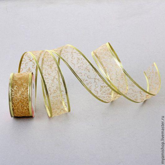 Цветы на золотом - армированная лента