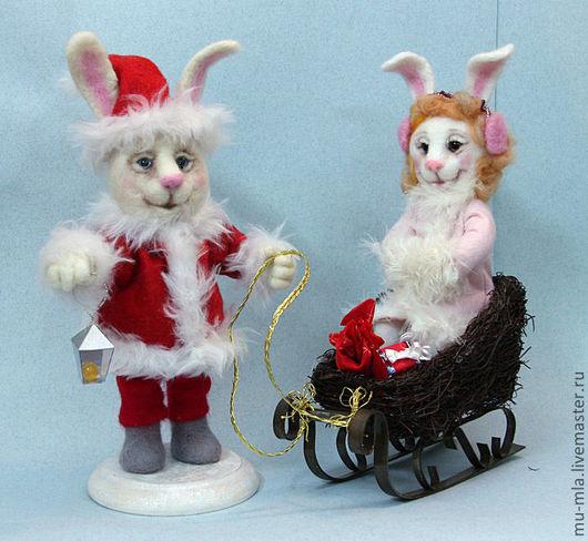 Игрушки животные, ручной работы. Ярмарка Мастеров - ручная работа. Купить Новогодние зайцы. Handmade. Зайцы, украшения под елку