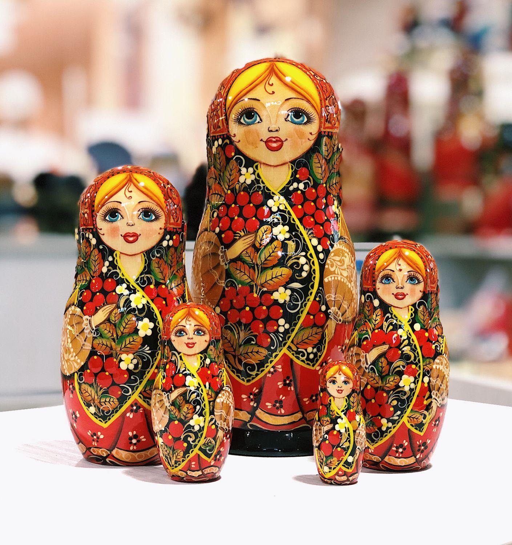 MATRYOSHKA 'TRADITIONAL KHOKHLOMA with ROWAN' 18 cm, 5 seats, Dolls1, Moscow,  Фото №1