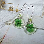 Украшения handmade. Livemaster - original item Transparent Long Earrings Green Clover Shamrock Four Leaf. Handmade.