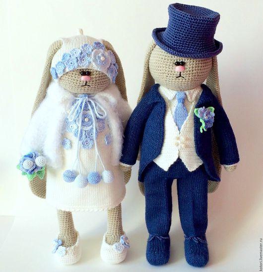 Игрушки животные, ручной работы. Ярмарка Мастеров - ручная работа. Купить Жених и невеста. Handmade. Комбинированный, заяц вязаный, спицами