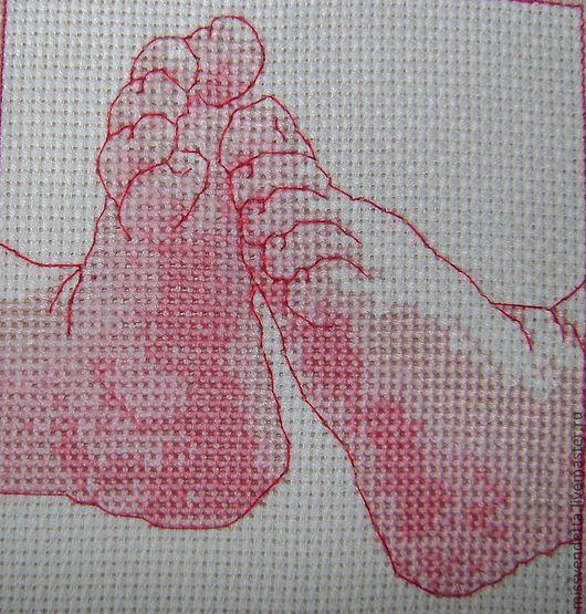 """Люди, ручной работы. Ярмарка Мастеров - ручная работа. Купить """"Детские ножки"""". Handmade. Бледно-розовый, Вышивка крестом, ножки"""