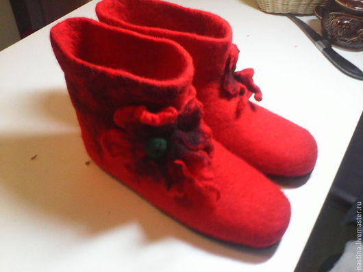 """Обувь ручной работы. Ярмарка Мастеров - ручная работа. Купить Сапожки """"Маки"""". Handmade. Разноцветный, шерсть 100%, мак"""