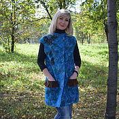 Одежда ручной работы. Ярмарка Мастеров - ручная работа Жилет валяный шерстяной женский бирюзовый летнее пальто из шерсти. Handmade.