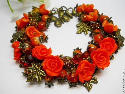 Браслет с розами. Купить браслет ручной работы. Браслет из полимерной глины.  Авторский браслет с цветами